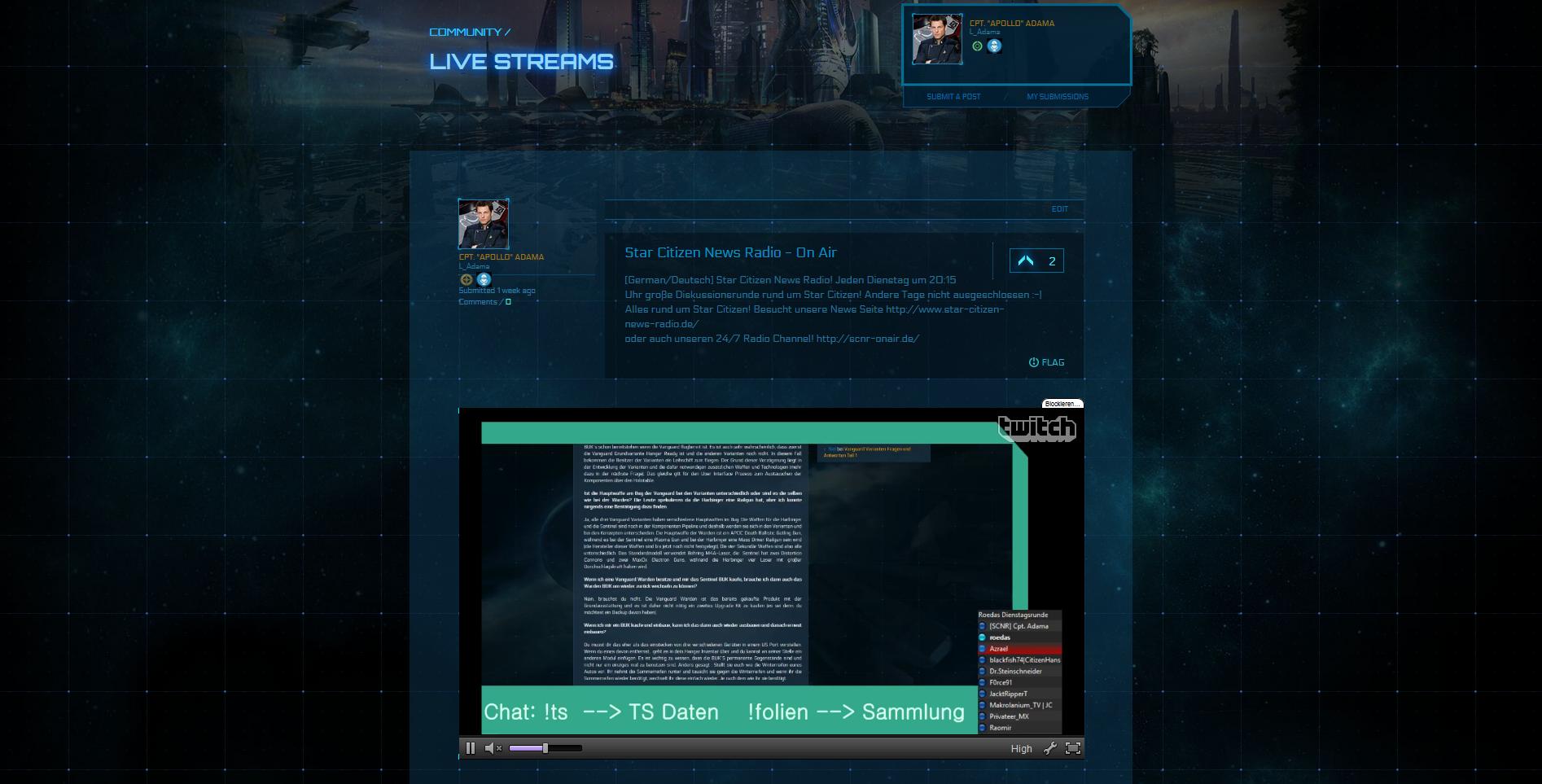 So sieht dann ein im Comm-Hub hinzugefügter und verifizierter Twitch-Stream aus.
