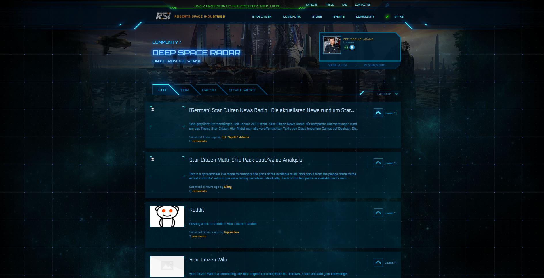 Deep Space Radar - Hier sieht man alle Webseiten die von Sternenbürger verlinkt worden sind. Sortiert nach Bewertung (Upvotes)